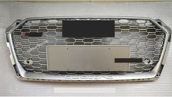 Fit AUDI A5 S5 B9 RS5 STYLE FRONT BUMPER GRILLE HONEYCOMB HOOD GRILL17 19 SILVER