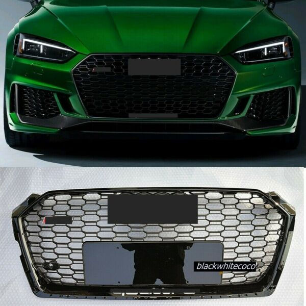 Fits AUDI A5 S5 B9 RS5 STYLE FRONT BUMPER GRILLE HONEYCOMB HOOD GRILL17 19 Black
