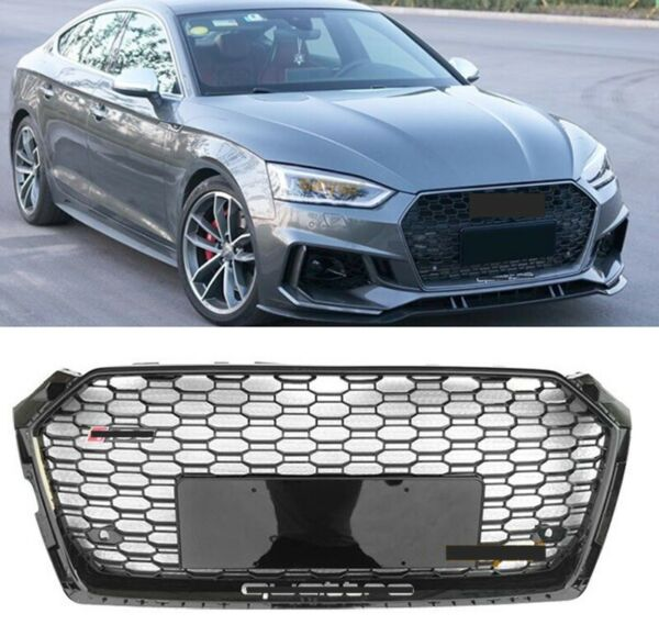 Fits AUDI A5 S5 B9 RS5 STYLE FRONT BUMPER HONEYCOMB HOOD GRILL 17 19 BLACK Frame