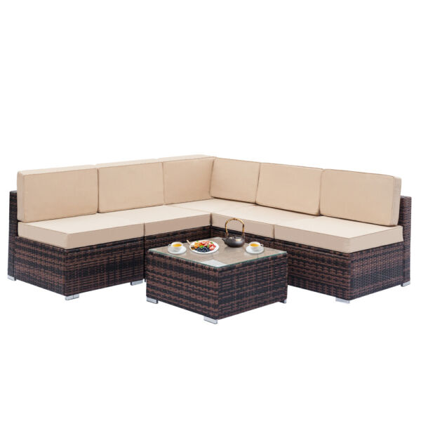 6 PCS Outdoor Patio Furniture Couch Wicker Rattan w Cushions Sofa Sectional Set $581.09