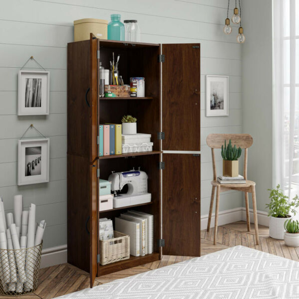 KITCHEN CABINET Cupboard Pantry Storage Organizer Wood Tall Shelves Brown