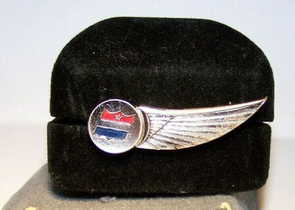 1957-1968 UNITED AIRLINES Flight Attendant Silver Tone Hat Half-Wing