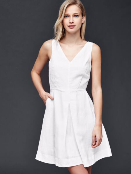 NWT Gap Linen fit amp; flare dress White SIZE 6  #201702 T0811 $27.99