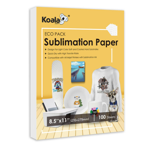 Koala 100 Sheets 8.5x11 Dye Sublimation Heat Transfer Paper Mug Cotton Polyester $8.99