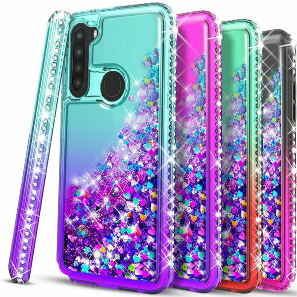 For Samsung Galaxy A11 Case Liquid Glitter Bling Tempered Glass Protector