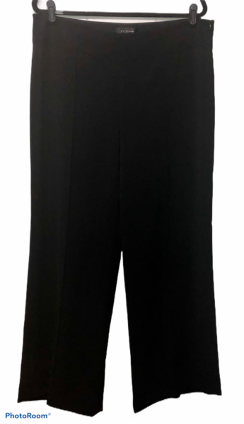 St John Side Zip Black Wide Leg Slacks Womens Size 14