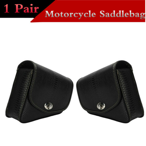 Motorcycle Saddlebag Leather Side Pouch Rear Seat Expansion Tool Box Accessories $50.30