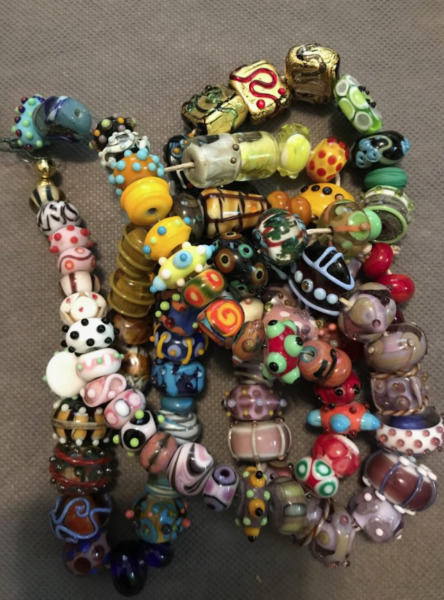 B LONG Strand of Mixed Hand Made Glass Beads Fancy Lampwork $120.00