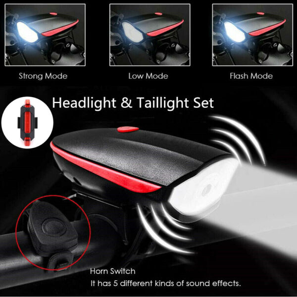 8000 Lumen Rechargeable Mountain Bike Lights Bicycle Torch Front amp; Rear Lamp Set $12.33