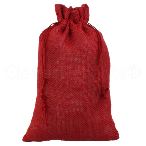 8quot; x 12quot; Red Burlap Bags Natural Jute Drawstring Pouch Sack Bag 8x12 Inch