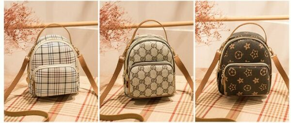 New Synthetic leather backpack small single shoulder crossbody bag plaid printed $5.99