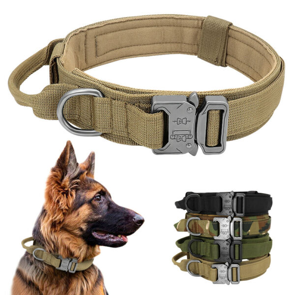 Tactical Military Dog Collars K9 Training with Handle Heavy Duty German Shepherd $13.99