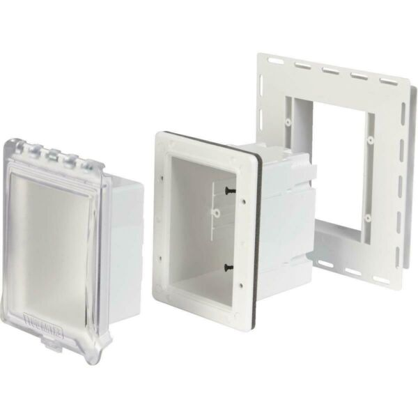 TayMac White Wall Vertical Horizontal Recessed Outdoor Outlet Kit Weatherproof $29.70