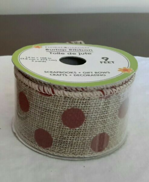 Natural Burlap Wire Ribbon with Red Polka Dots 9 Feet and 1.5 Inches Wide New