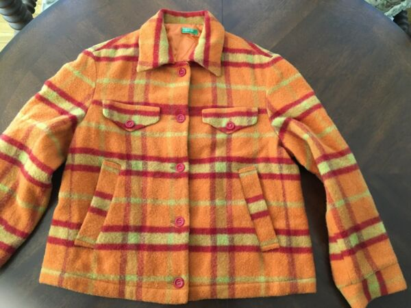 Retro Made In Italy Benetton Wool Orange Plaid Jacket Soft Medium With Flaws $12.00