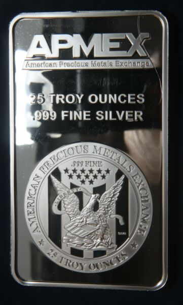 APMEX 25 OZ .999 SILVER BAR LOT 300703