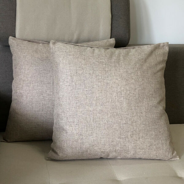 20quot;x20quot; 2 Pack Burlap Linen Throw Pillow Cases Cushion Covers Solid Pillow Cover