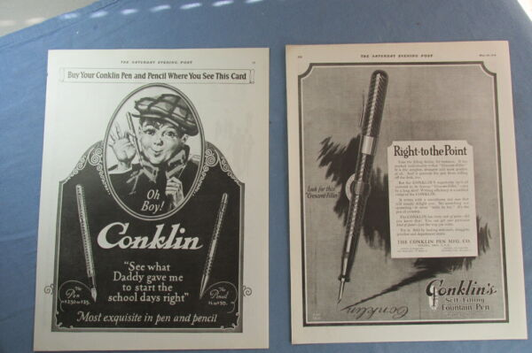 LOT of TWO CONKLIN PEN and PENCIL Full Page ADS from 1919 and 1923
