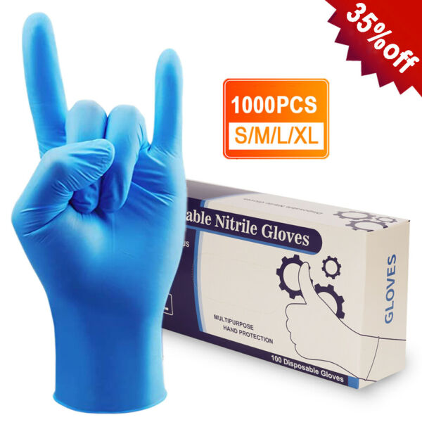 100 1000pcs Nitrile Gloves Powder Latex Free Thicken 4 mil Durable Rubber S M XL $169.99