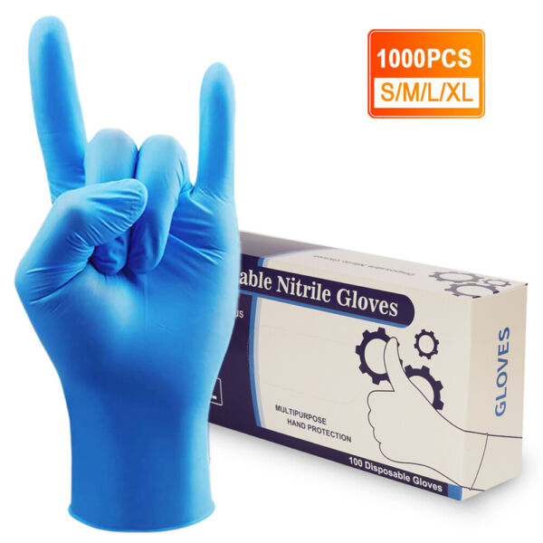 1000pcs Non Latex Nitrile Gloves Powder Free Thicken 4 mil S M L Durable Rubber