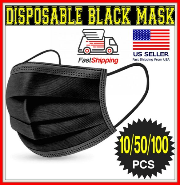 10 50 100 BLACK 3 Ply Face Mask Disposable Dental non Medical Surgical Cover