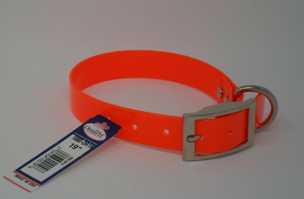 HUNTING DOG COLLARS #100D ORANGE DAYGLO 19quot; DOG COLLAR FREE BRASS NAMEPLATE $8.50