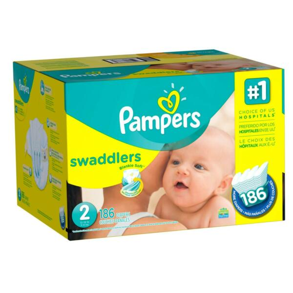 New Pampers Swaddlers Disposable Baby Diapers Size 2 186 Count Free Shipping $39.95