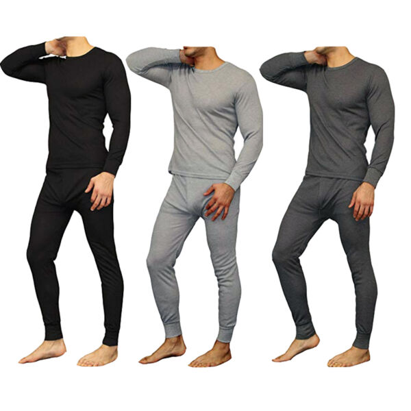 New Mens 2PC Soft 100% Cotton Thermal Underwear Long Johns Set Top Bottom M 2XL