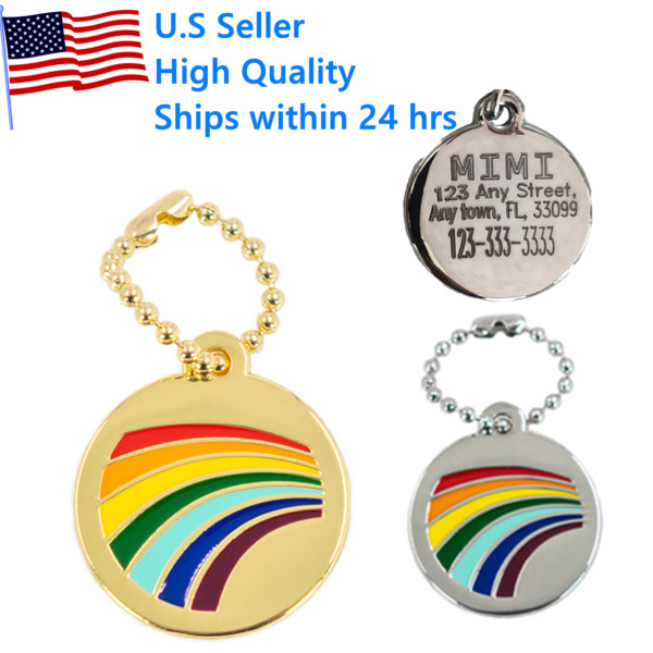 Rainbow Dog Tags Tag Charm Key chain Puppy Kitten ID Name Engraved Personalized $3.95