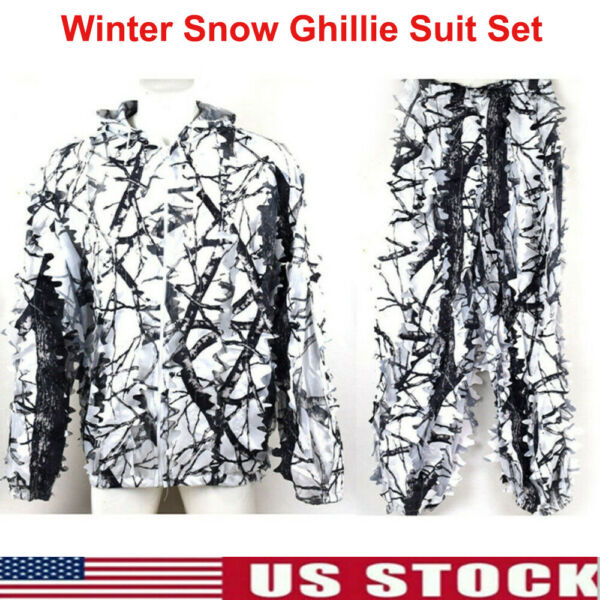Men#x27;s Winter Snow Camouflage Outdoor Hunting Wind proof Thermal Ghillie Suit Set
