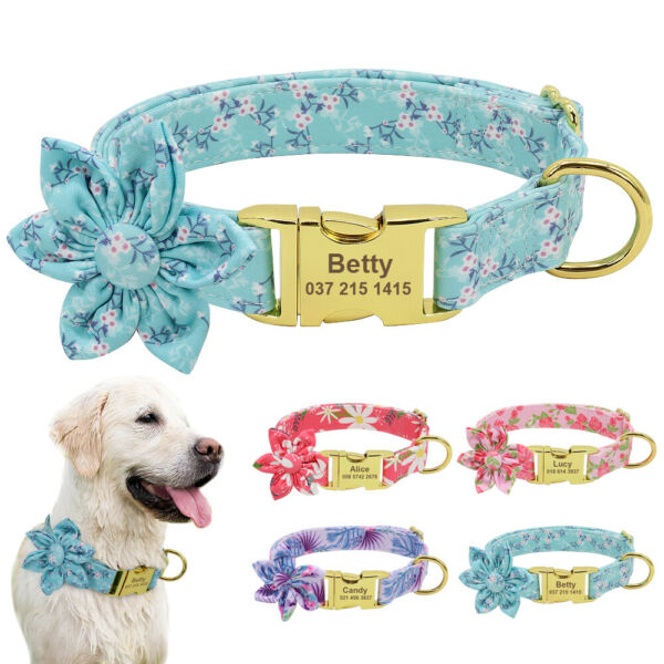 Soft Nylon Dog Personalized Collars Custom Dog Name Tag Engraved Small Large Dog $9.99