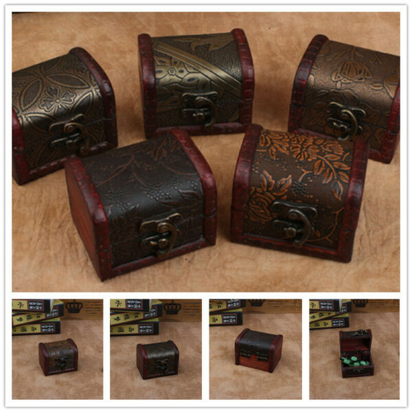 Vintage Wooden Decorative Trinket Small Boxes Storage Jewelry Box Treasure Chest