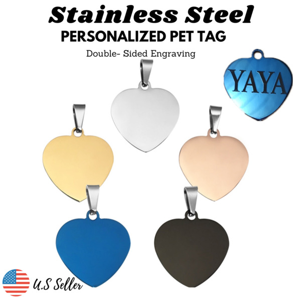 Stainless Steel Heart Dog Tags Cat Tag Charm REAL Engrave Personalized $4.95