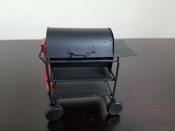 Vintage Dollhouse Miniature BBQ Barbeque Smoker Grill 1:12 Scale