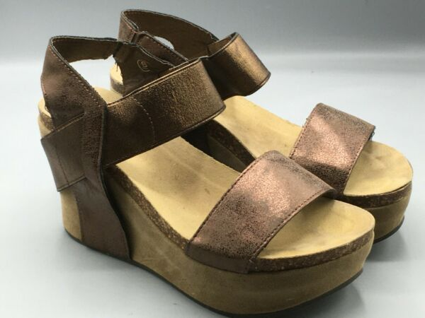 Pierre Dumas Womens 3quot; Platform Heels Shiny Coppery Brown 6 M Strappy Ankle $12.79