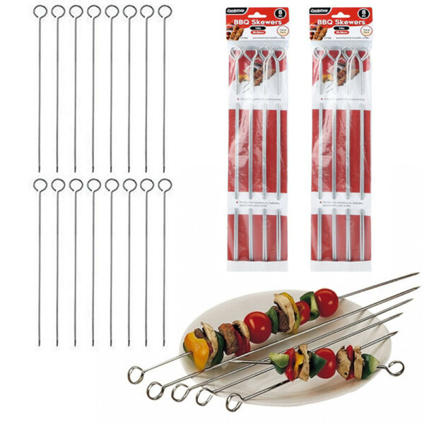 16 Pc Metal BBQ Skewers 14quot; Stainless Steel Cooking Barbecue Kebab Grill Sticks
