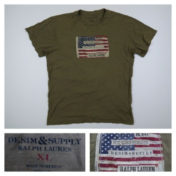 Denim amp; Supply Ralph Lauren USA Flag Short Sleeve Military T Shirt Men#x27;s Size XL