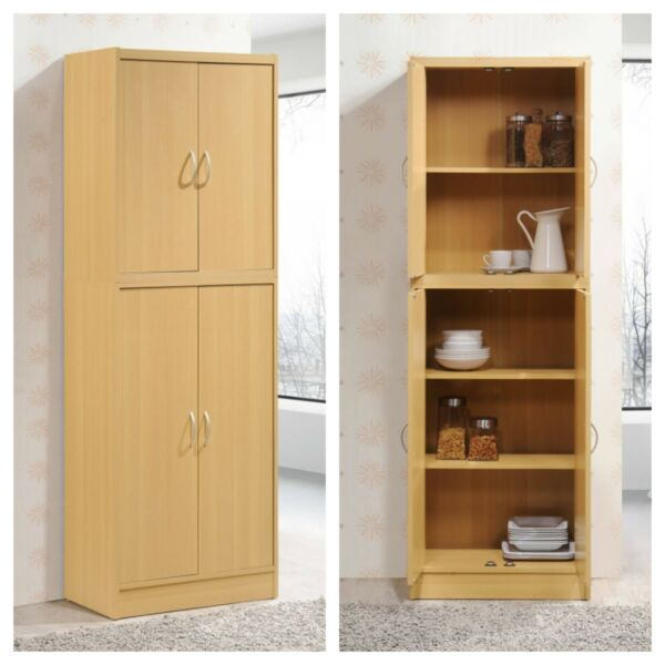 KITCHEN CABINET PANTRY 4 Door Cupboard Storage Organizer Light Brown