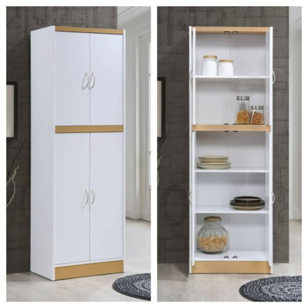 KITCHEN CABINET PANTRY 4 Door Cupboard Storage Organizer White