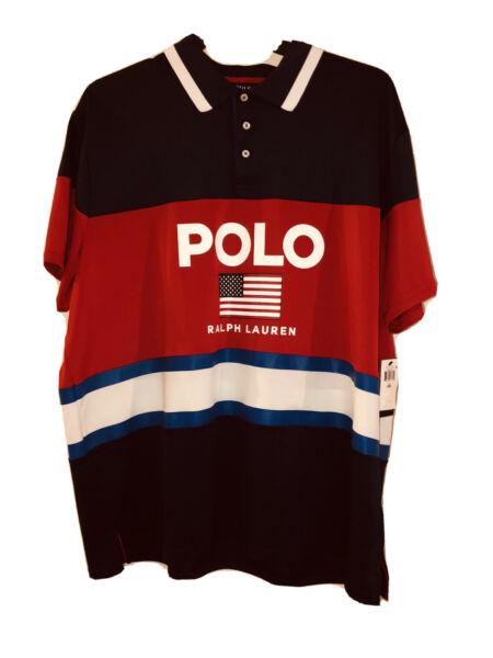 Polo Ralph Lauren Men 2XL Performance Red White Blue Flag Short Sleeve Tee XXL