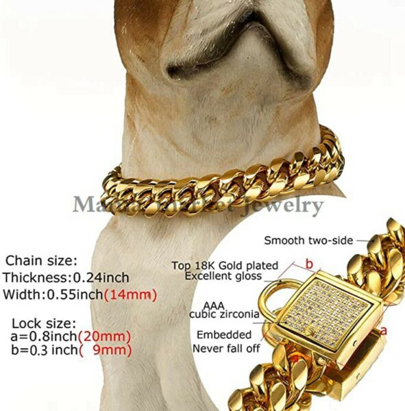 Luxury Dog Collar 18K Gold Stainless Steel Curb Training Collar Necklace for Dog $22.99