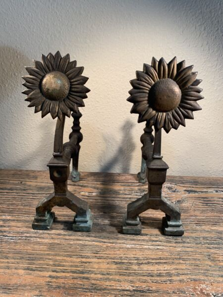 Vintage Sunflower Brass Andirons
