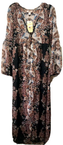 New Band Of Gypsies Womens M Sheer Floral Duster Long 3 Button Kimono Topper