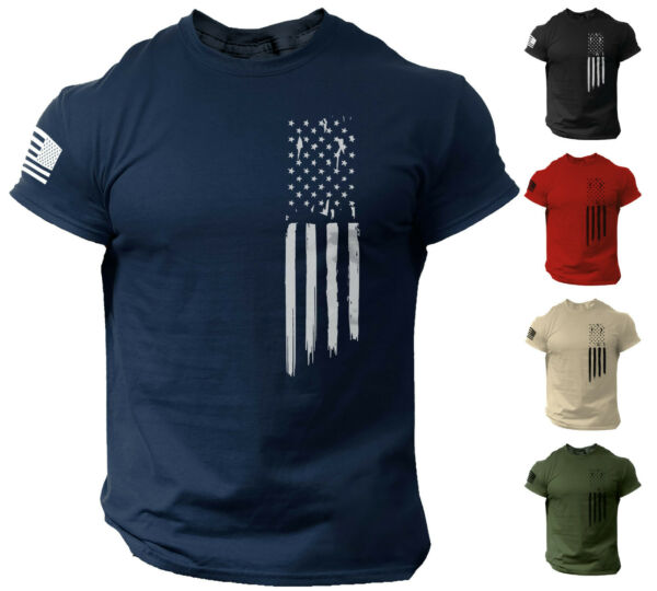 American Flag USA Patriotic T Shirt for Man Military Veteran Style Shirt