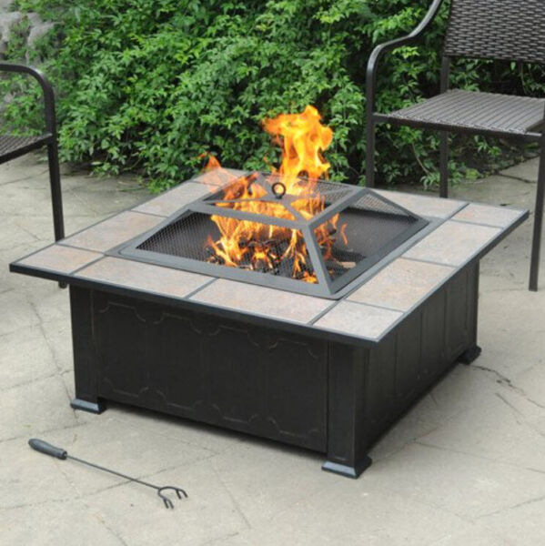OUTDOOR PATIO SQUARE FIRE PIT TABLE 34 Inch Ceramic Tile Top Wood Burning