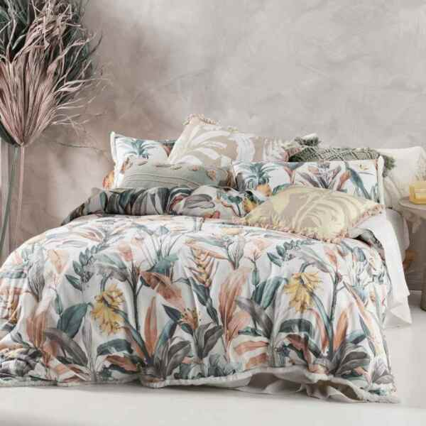Linen House Habitation Teal Cover Set 100% Cotton Queen King Super King AU $59.99