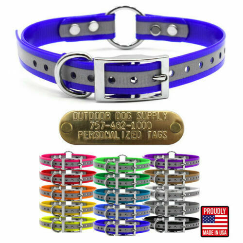 Hunting Dog Reflective Name Collar 3 4quot; D amp; O Ring amp; Custom Brass Tag ID Plate $10.95