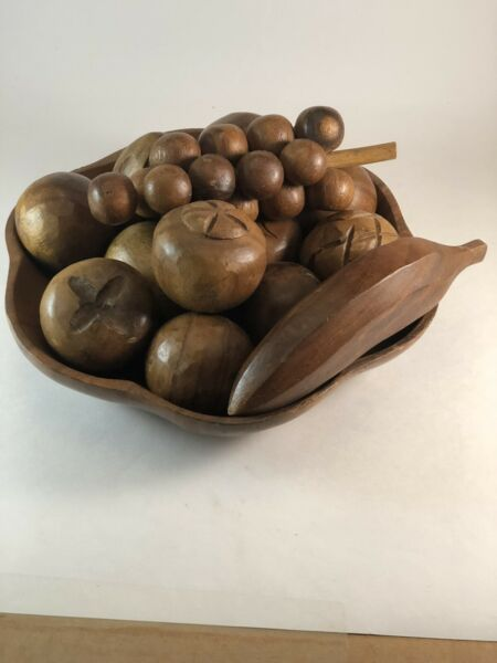 Vintage Wooden Fruit And Bowl