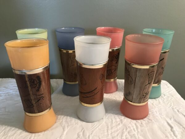 Vintage Siesta Ware Tiki Glasses Set Of 7 Tumblers Tall Walnut Mid Century 1960s $25.00