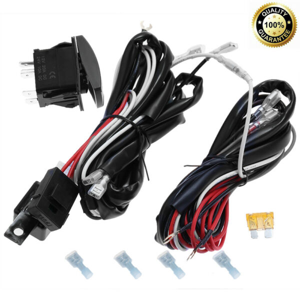 LED Light Bar Wiring Harness 300W 12V 40Amp 14AWG Fuse Relay ON OFF Switch